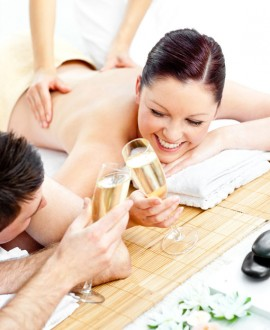 Spa privatif (1h) + massage (45'x2) + champagne + mise en bouche 2h30